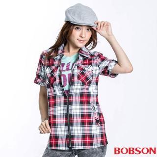 【BOBSON】女款拉鍊式格紋短袖外套(紅23137-13)