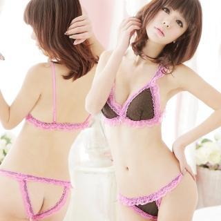 【lingling日系】A918裸感甜蜜圓點蕾絲邊二件式性感比基尼組(俏桃粉)