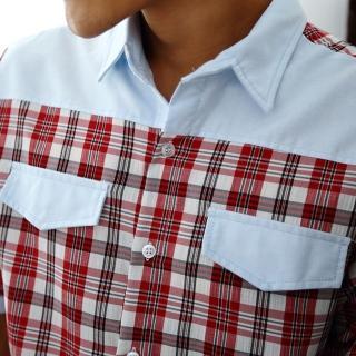 【Jimmy&Wang】男生率性紅格紋襯衫(網)