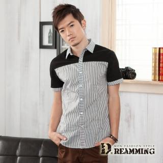 【Dreamming】韓風拼接條紋短袖休閒襯衫(共三色)