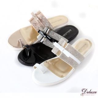 【Deluxe】活力閃耀.寬板亮色皮革水鑽平底夾腳涼鞋(★三色)