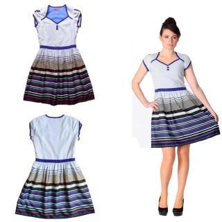 【朵壹服飾】甜美心型線條洋裝(藍色)
