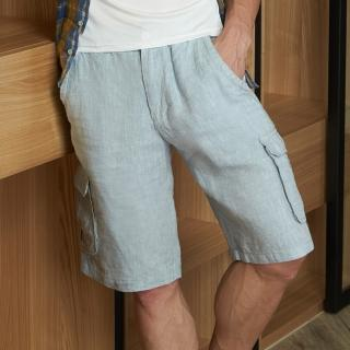 矜蘭妃100%法國名品色織亞麻男五分褲(J1)