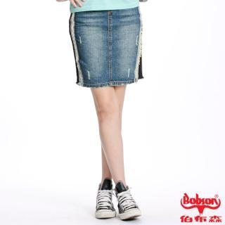 【BOBSON】女款針織牛仔布拼接短裙(藍D069-53)