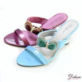 【Deluxe】渡假女神款.好感度蝴蝶結水晶鑽透明楔型涼鞋(★二色)