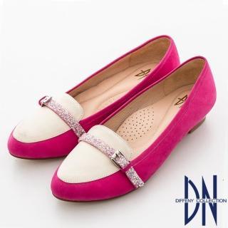 【DN】甜繽紛馬卡龍 甜美水鑽邊帶尖頭鞋(桃)