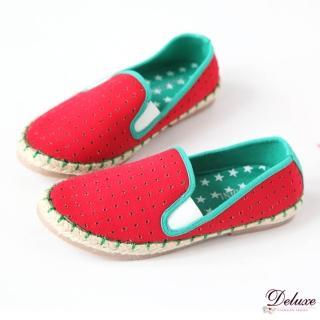 【Deluxe】舒適輕便.帆布撞色休閒懶人鞋(紅色)
