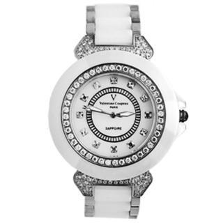 【范倫鐵諾˙古柏】名媛必備珍珠貝面爪鑲方晶鋯石精密陶瓷手錶腕錶