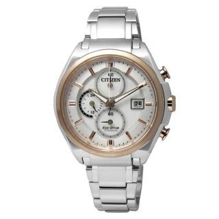 【CITIZEN】勇者不敗藍寶石水晶光動能鈦金屬手錶 銀x玫瑰金框 43mm(CA0356-55A)