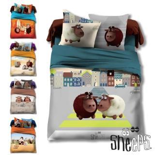 【SHEEPS】《瞌睡羊》精梳棉加大雙人床包被套四件組(5款)