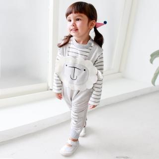 【baby童衣】包屁衣+棉柔小羊吊帶褲 2件/套 37003(淺灰色棉羊)