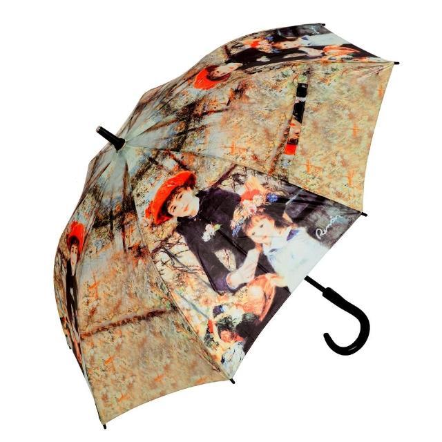 【網購】MOMO購物網【雨傘詩人】名畫藝術系列 抗風抗UV全玻璃纖維自動直傘(雷諾瓦系列)去哪買富邦momo購物台網站