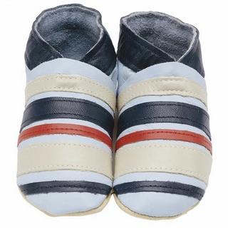 【英國Daisy Roots】英國百年手做全皮革童鞋/彌月禮盒(條紋藍S號)