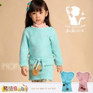 【魔法Baby】俏麗甜美波波公主品牌-針織毛線洋裝-綠.粉(k30501)