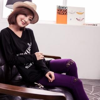 【衣心衣意中大尺碼】簡雅格調 四面彈力蕾絲褲口舒適棉質內搭褲(黑-紫SC3A1088)