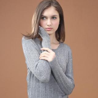 矜蘭妃100%喀什米爾麻花織紋羊絨衫(超細緻加長款)