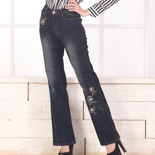 【RH】中腰手工立體縫珠喇叭牛仔褲(修身深藍色全尺碼S-3L)