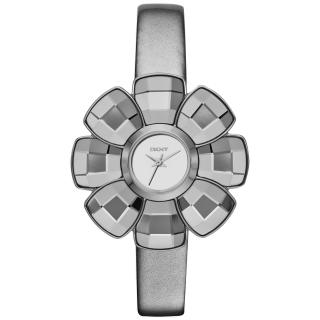 【DKNY】華麗冒險花朵造型腕錶-銀灰(NY2120)