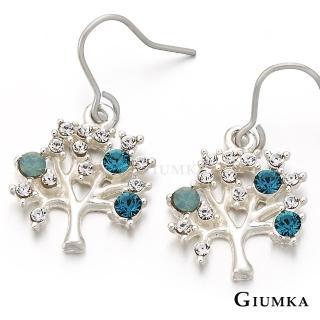 【GIUMKA】智慧之樹耳勾式耳環 精鍍正白K 綠白鋯 甜美淑女款 MF00238-5(銀色)