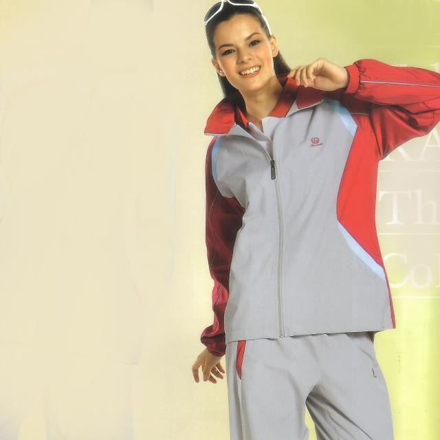 【日本momo新聞Kawasaki】女版平織網裡運動服套裝(全套-淺灰)