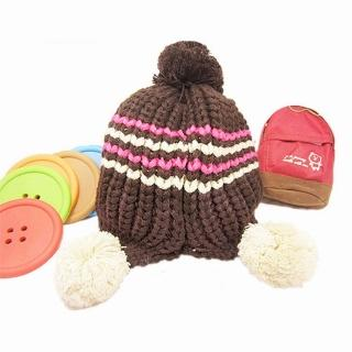 【iSFun】簡約條紋*毛線球球護耳帽/三色