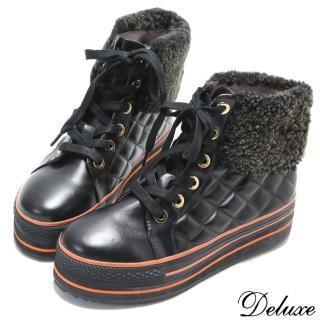 【Deluxe】全真皮菱格紋保暖羔羊毛高筒厚底休閒鞋(黑-咖)