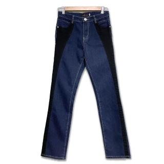 【RH】一褲雙效專利拼接兩色牛仔長褲(深藍拼接黑色全尺碼)