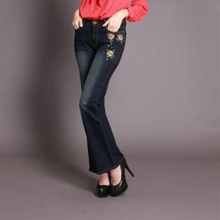 【RH】立體玫瑰繡珠造型小喇叭牛仔長褲(顯瘦布料修身深籃全尺碼S-3L)