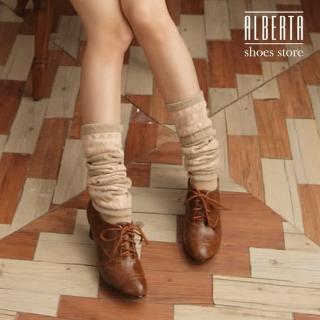 【Alberta】英倫牛津皮質素面綁帶式粗跟超舒適 踝靴短靴(棕色)