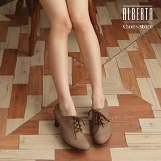 【Alberta】英倫牛津皮質素面綁帶式粗跟超舒適 踝靴短靴(咖啡色)