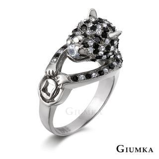 【GIUMKA】情侶對戒 招財金錢豹 德國精鋼鋯石情人戒指MR00426-1F(銀色)
