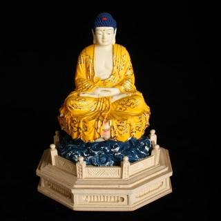 【MU LIFE 荒木雕塑藝品】FRP日式淡彩金黃衣釋迦佛