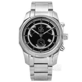 【Calvin Klein】日系時尚獨特逆跳式三眼計時不鏽鋼手錶 黑色 42mm(K7731104)