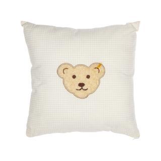 【STEIFF德國金耳釦泰迪熊】嬰幼兒 枕頭 靠枕 黃色格紋(枕頭/被類)