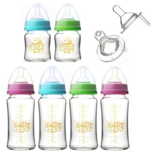 【貝喜力克】防脹氣高耐熱寬口徑玻璃奶瓶組(4大2小)