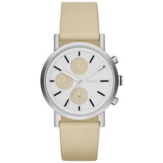 【DKNY】搶眼定番都會三眼時尚腕錶-白x膚色/皮帶(NY2157)