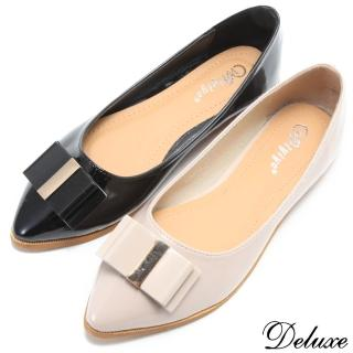 【☆Deluxe☆】通勤最愛-素色顯瘦小尖頭蝴蝶結平底包鞋(★米/黑)