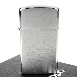 【ZIPPO】美系-拉絲打磨鍍鉻-銀色霧面打火機-窄版
