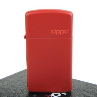【ZIPPO】美系-LOGO字樣打火機-RED MATTE 紅色烤漆(窄版)