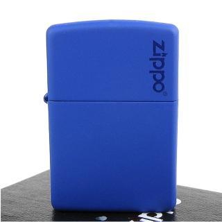 【ZIPPO】美系-LOGO字樣打火機-Royal Blue Matte寶藍烤漆(寬版)