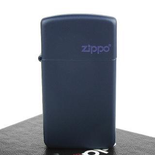 【ZIPPO】美系-LOGO字樣打火機-Navy Matte海軍藍烤漆(窄版)