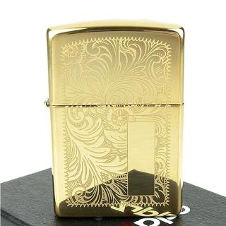 【ZIPPO】美系-Venetian威尼斯人雕花圖案設計-黃銅拋光鏡面打火機(寬版)