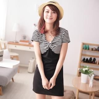 【衣心衣意中大尺碼】時髦情人-V領接色條紋顯瘦洋裝(黑-桃A3147)
