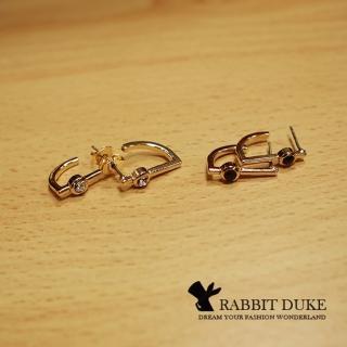 【RD 兔子公爵】現貨 經典歐美風格 個性D型直線鑲鑽耳環 千頌伊款(二色)