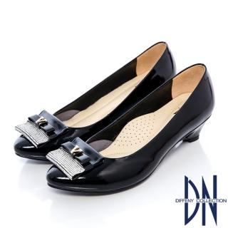 【DN】氣質名媛 MIT耀眼水鑽牛皮楔型跟鞋(黑)