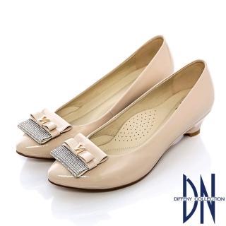 【DN】氣質名媛 MIT耀眼水鑽牛皮楔型跟鞋(米)