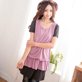 【衣心衣意中大尺碼】簡單搭配 韓流二件式造型洋裝(紫-磚紅A1263)