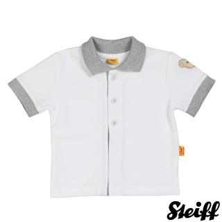 【STEIFF德國精品童裝】短袖 Polo 上衣 白色灰領(Polo衫)