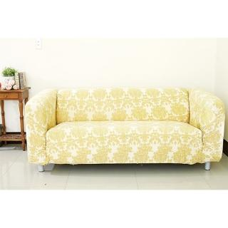 【Osun】一體成型防蹣彈性沙發套、沙發罩(米色緹花3人座CE-173)