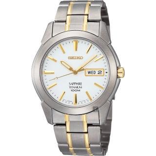 【SEIKO】鈦金屬 經典時尚腕錶-白/雙色版/38mm(7N43-0AS0KS)